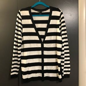 Black and white striped Lane Bryant cardigan
